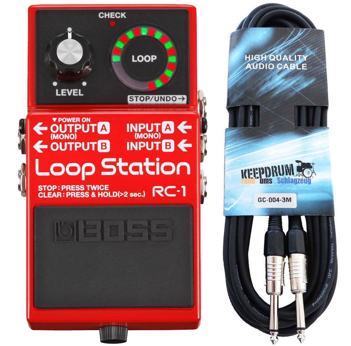 Boss RC-1 Loop Station Looper-Pedal + Keepdrum Gitarren-Kabel 3m Boss Guitar Equipment