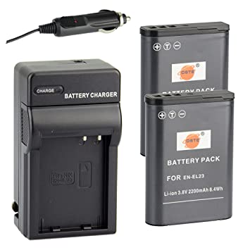 cd9a034989 DSTE® アクセサリーキット Nikon EN-EL23 互換 カメラ バッテリー 2個+充電器キット