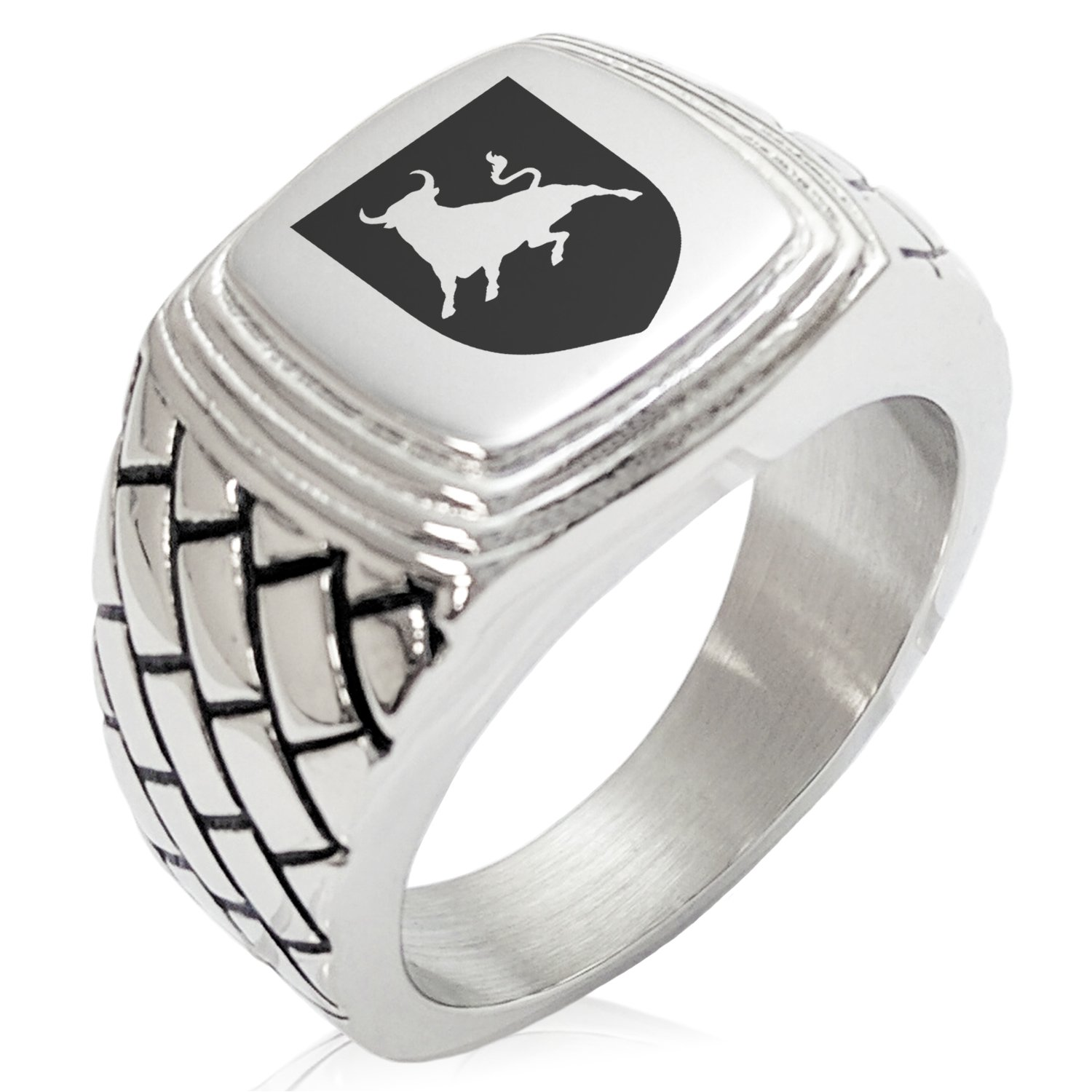 Two-Tone Stainless Steel Bull Bravery Coat of Arms Shield Engraved Geometric Pattern Step-Down Biker Style Polished Ring, Size 11