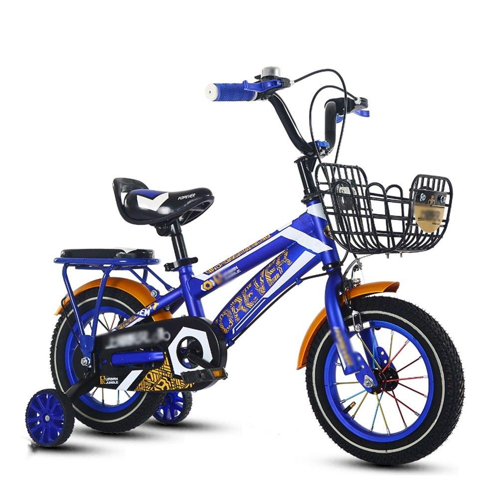 子供の自転車少年少女3-10歳の小学校の子供の自転車ベビーキャリッジペダル自転車14 16 18オレンジレッドブルー B07DVTHT1C 18 inch|青 青 18 inch