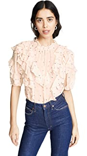 1c1d18a774d450 Amazon.com  Rebecca Taylor Women s Long Sleeve Silk and Lace Blouse ...