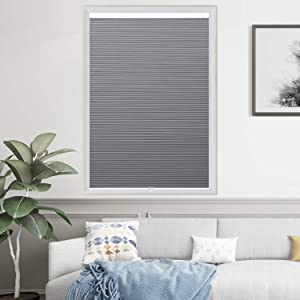 "HOMEDEMO Blackout Cellular Shades Cordless Window Blinds and Room Darkening Shades, 24"" W x 64"" H, Dark Gray (UV Blocking & Privacy Protection)"