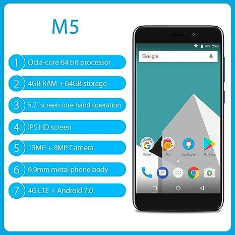 Vernee M5 Smartphone 4 G Android 7.0 (mt6750 Octa Core, 5.2 IPS HD ...
