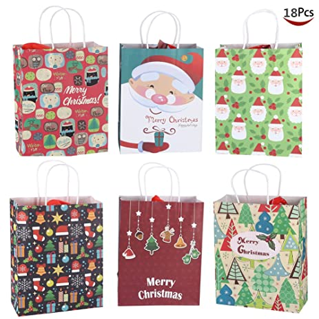 christmas gift bag set 18 kraft holiday gift bags with christmas prints xmas goodie bags