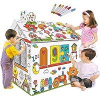 Decdeal DIY 3D Karton Spiel Haus Kit Playhouse Kinder Lernspielzeug zum Zusammenbauen und Bemalen mit Geschenk Box 2,2 Füßen