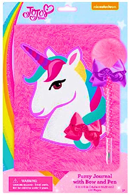 Amazon Com Jojo Siwa Fuzzy Unicorn Journal With Bow And Pen Toys