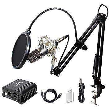 TONOR XLR 3.5mm Micrófono Condensador Profesional para Computadora Podcast Estudio con Soporte de Micrófono Ajustable Filtro Anti-Pop 48V Phantom ...