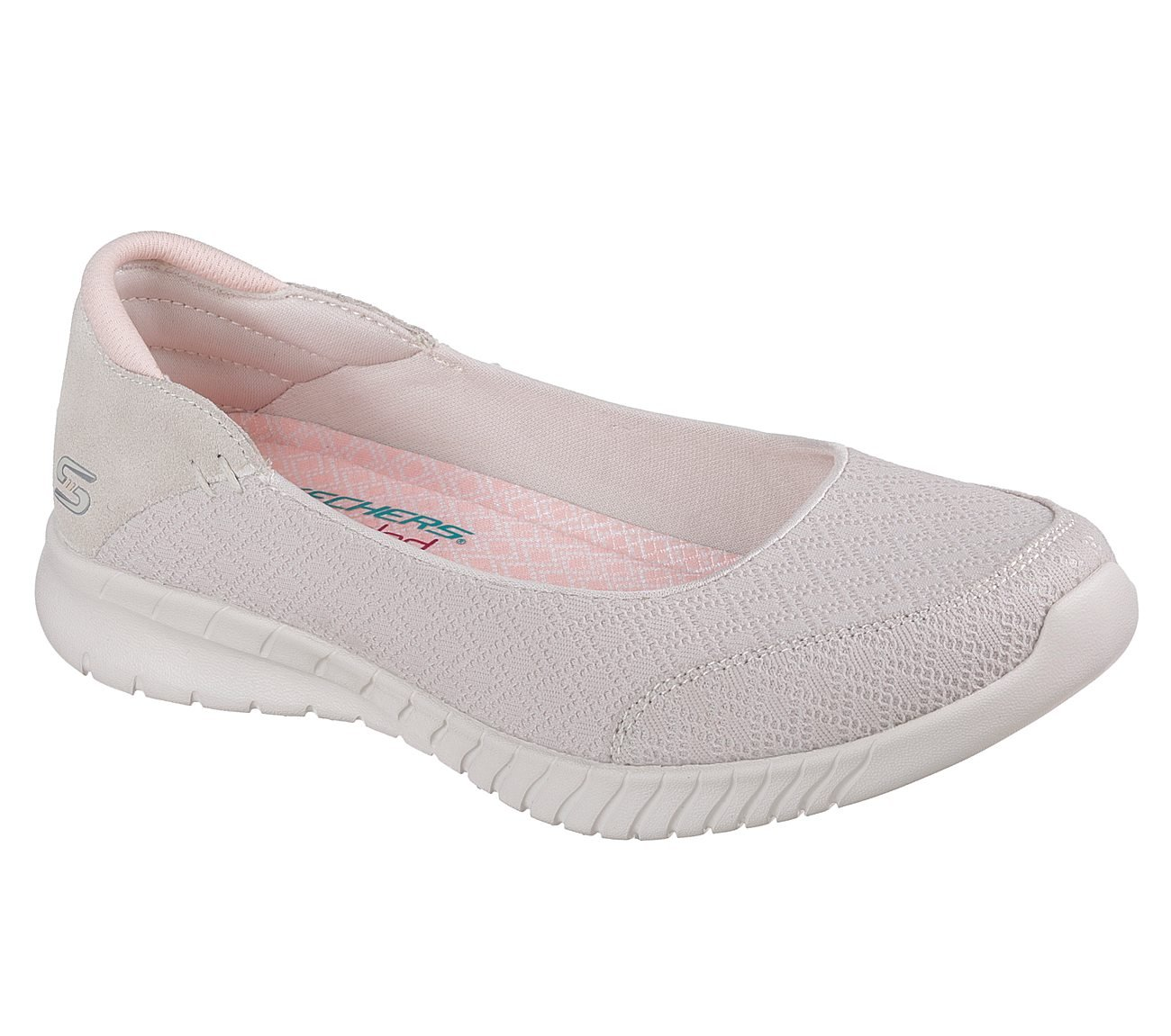 Skechers Wave Lite Don't Mention It Womens Slip On Skimmer Sneakers B07DFLWTJX 6.5 B(M) US|Natural/Coral