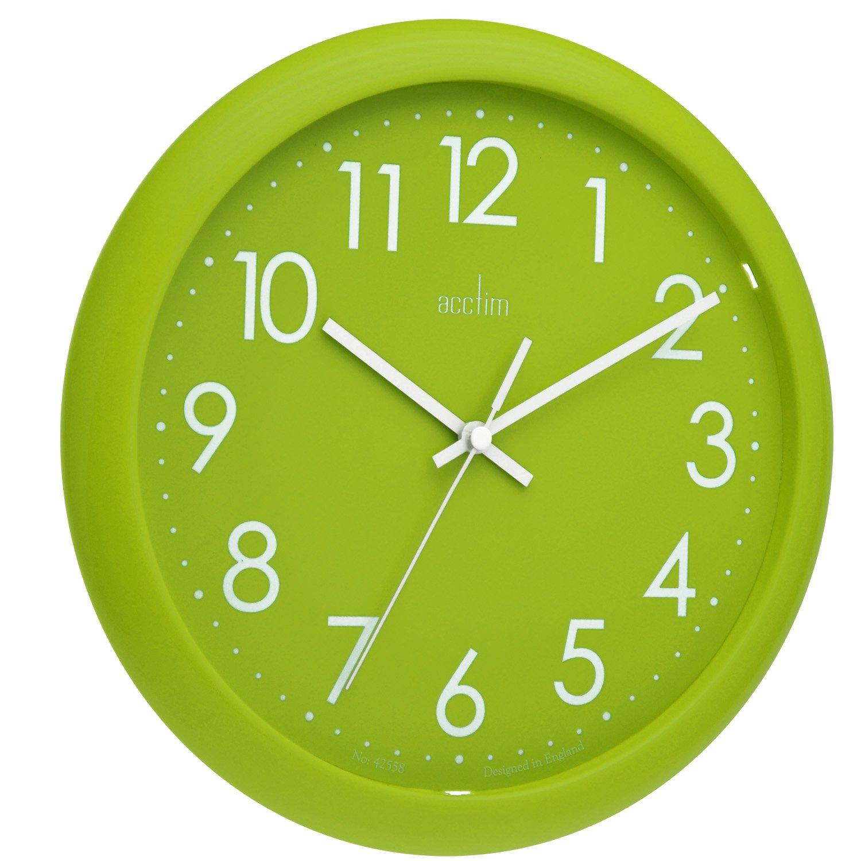 Amazon acctim 21895 abingdon wall clock lime green home amazon acctim 21895 abingdon wall clock lime green home kitchen amipublicfo Choice Image