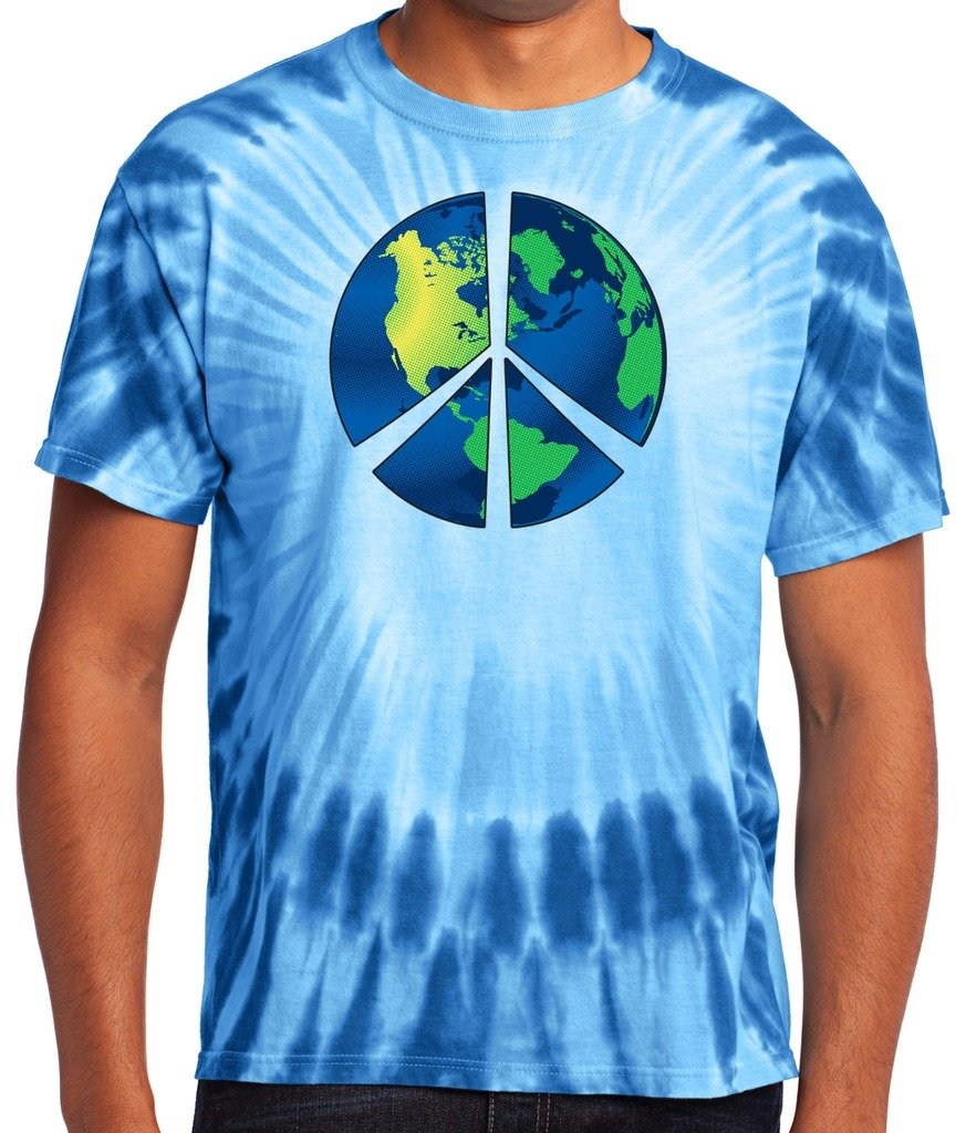 Yoga Clothing For You Mens Blue Earth Tie Dye Tee PC149-BLUEARTH