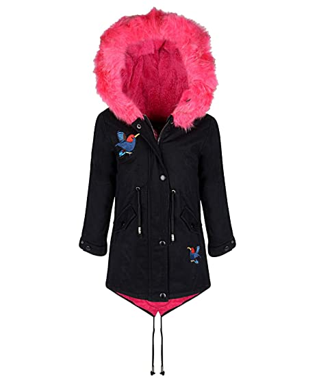 d5eed9a3f LotMart 4704 Black 15-16 Y Girls Winter Coat  Amazon.co.uk  Clothing