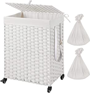 Greenstell Handwoven Laundry Hamper with Wheels and 2 Removable Liner Bags, Synthetic Rattan Clothes Laundry Basket with Lid and Handles, Foldable and Easy to Install (White)