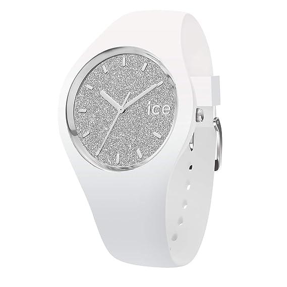 Ice-Watch - Ice Glitter White Silver - Reloj Blanco para Mujer con Correa de Silicone
