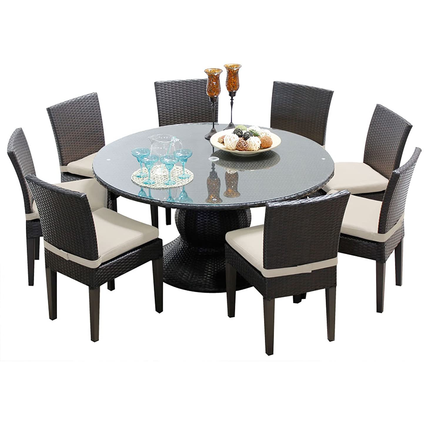 TK Classics BARBADOS-60-KIT-8C-BEIGE Barbados 60 Inch Table with 8 Armless Chairs Outdoor Wicker Patio Dining Sets, Beige