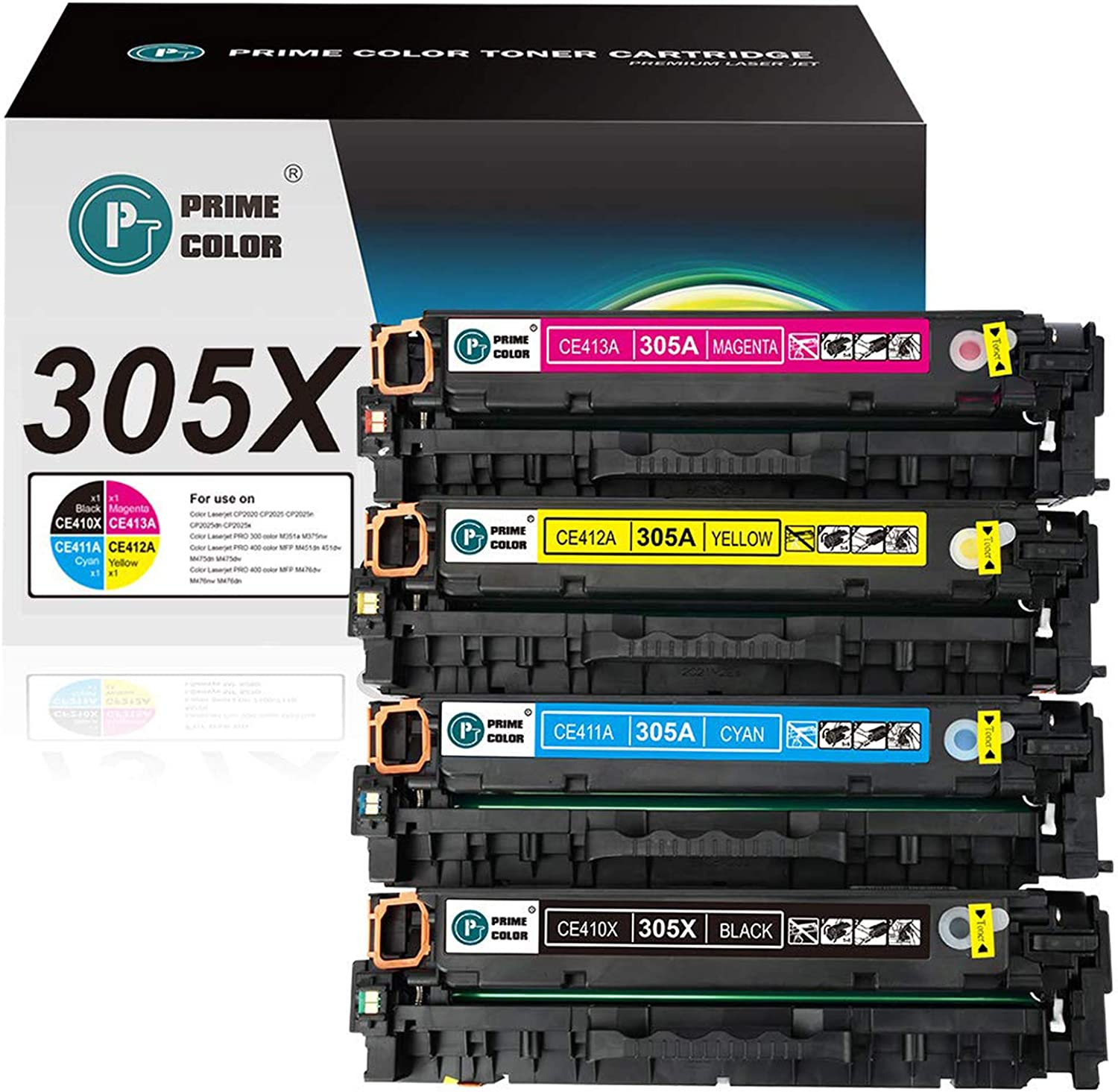 Prime Color Remanufactured Toner Cartridges Replacement for HP 305A 305X CE410X to use with Laserjet Pro 400 Laserjet Pro 300 M451nw M451dn M451dw MFP M475dw M475dn M375nw (Black Cyan Yellow Magenta)