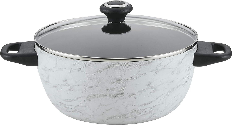 Farberware Designs White Marble Cookware (5.5 Qt Covered Casserole Pan)