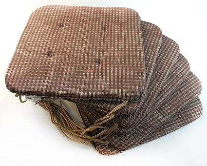 Casa Linga – Juego de 6 silla Cojín Marrón – Cuadros aprox. 36 X 36