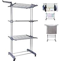 3 Tier Clothes Drying Rack Folding Laundry Dryer Hanger Compact Storage Steel Indoor Outdoor Grey