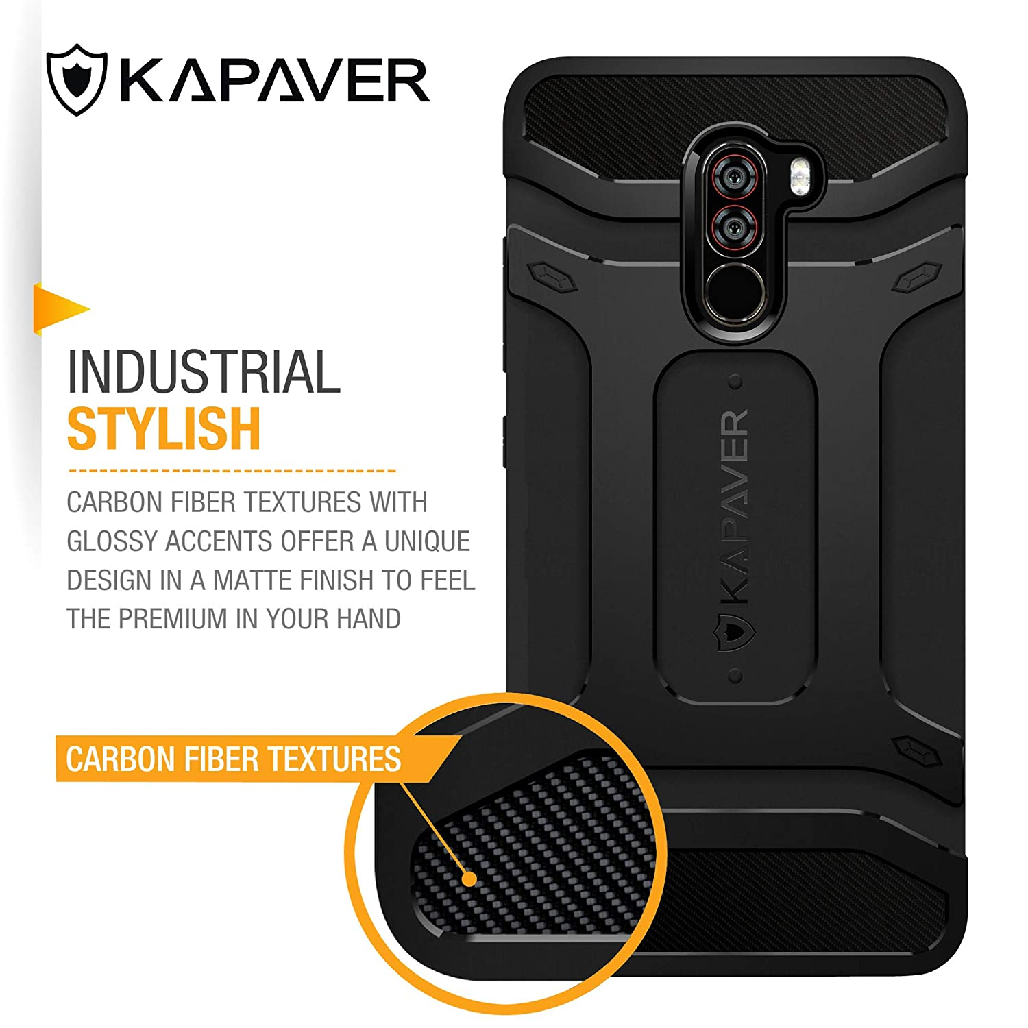 superior quality 69228 5f4fc KAPAVER® Xiaomi Poco F1 Phone Rugged Back Cover Case MIL-STD 810G  Officially Drop Tested Solid Black Shock Proof Slim Armor Patent Design  (Only for ...