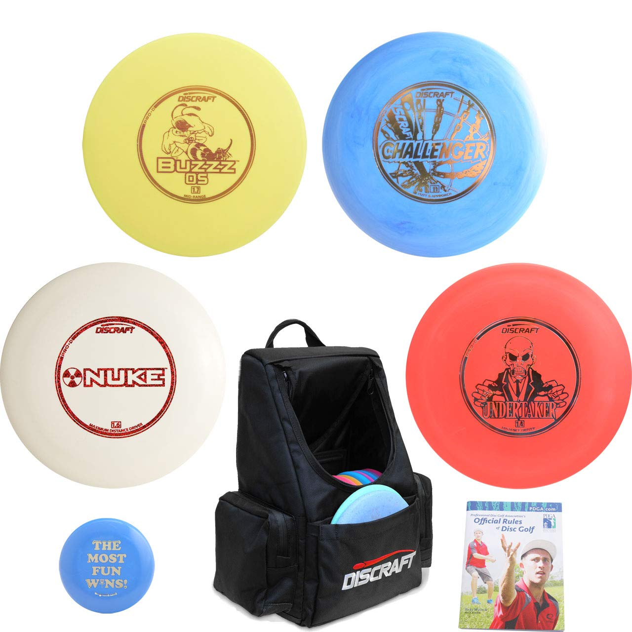 Discraft Complete Disc Golf Advanced Set Gift Bundle - Tournament Backpack Bag, 2 Drivers, Mid-Range, Putter + Mini Marker Disc & Rules (Black)