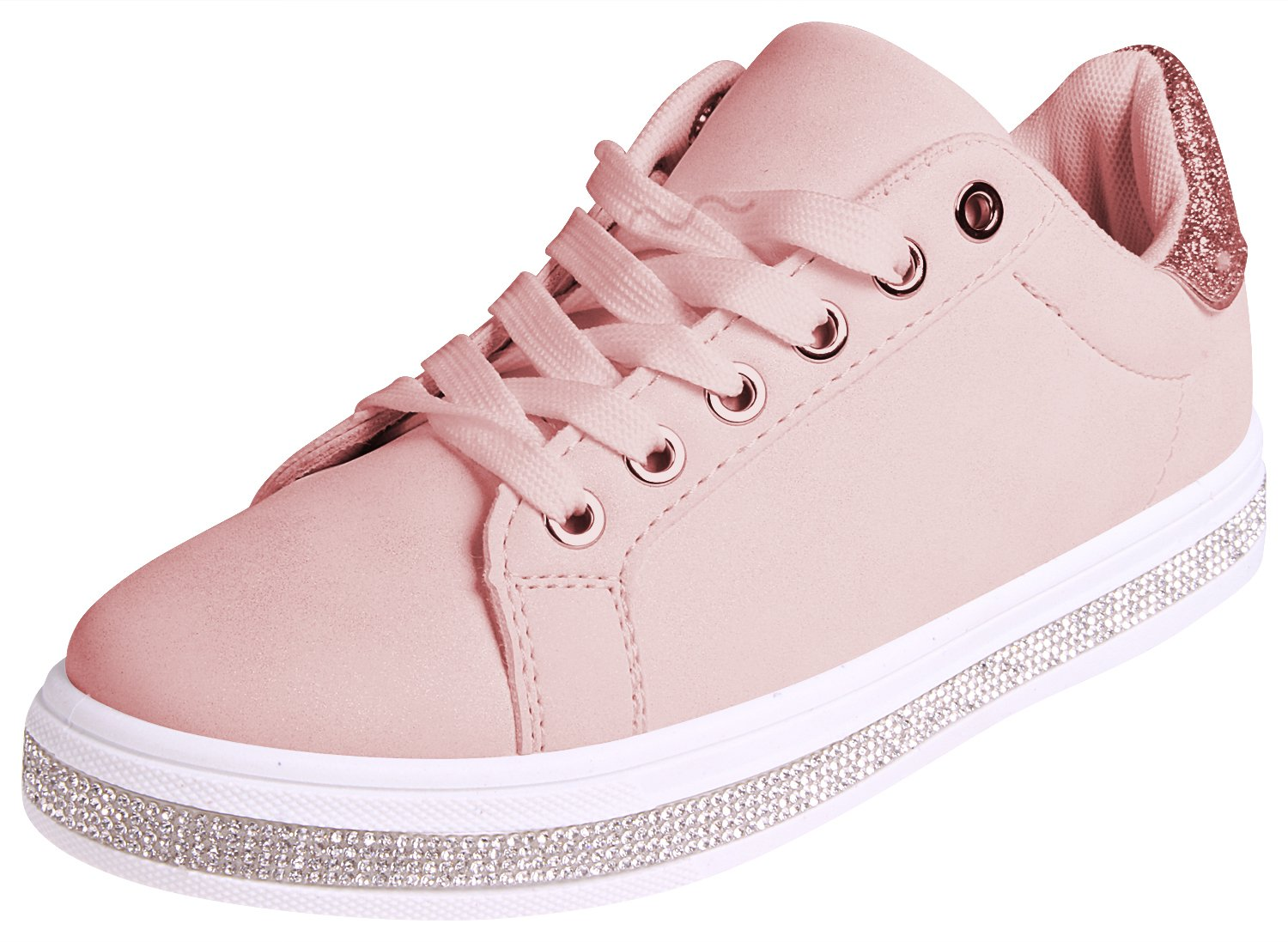 Enimay Womens Glitter Fashion Sneakers Lace up Shoes B07BSPQQX8 5 D(M) US|Pink