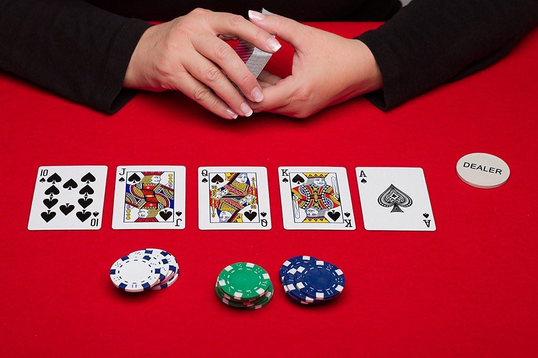 Display4top Juego de póquer con 300 Chips láser 12 Gramos núcleo de Metal, 2 Barajas de Cartas, Distribuidor, ciega pequeña, Big Blind Buttons y 5 Dados: Amazon.es: Juguetes y juegos