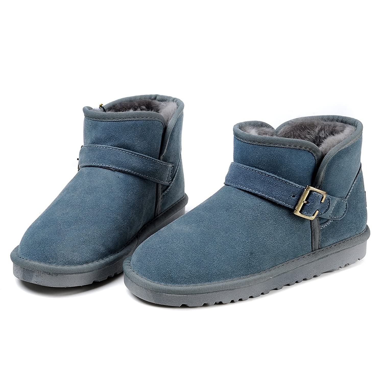 MILANAO Women Winter Buckle Warm Leather Ankle Snow Boots: Amazon.co.uk:  Shoes & Bags