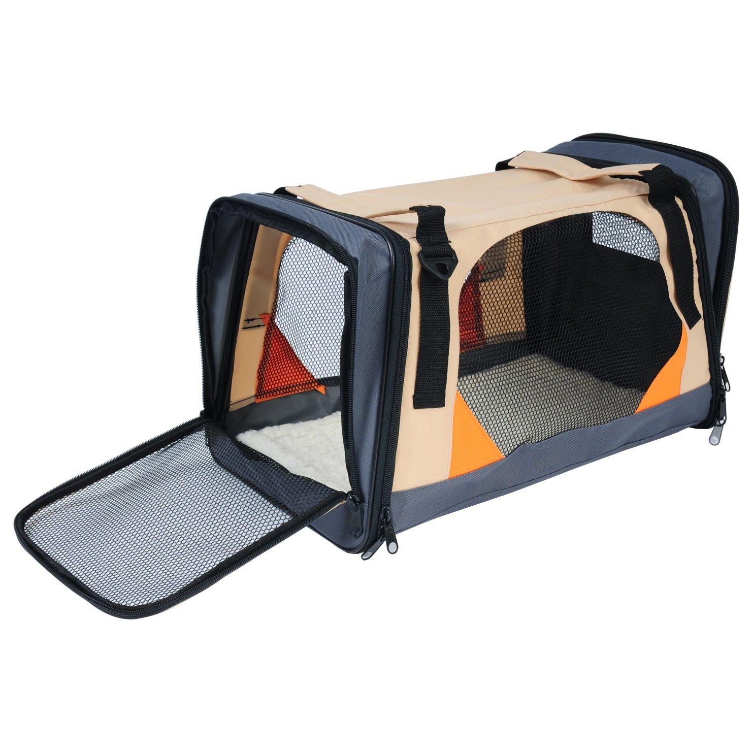 WOLTU HT2073br Cage de boîte de Voiture en Oxford pour Animal, Caisse de Transport Pliable pour Chien, Taille Environ 49x29x30cm, Brun