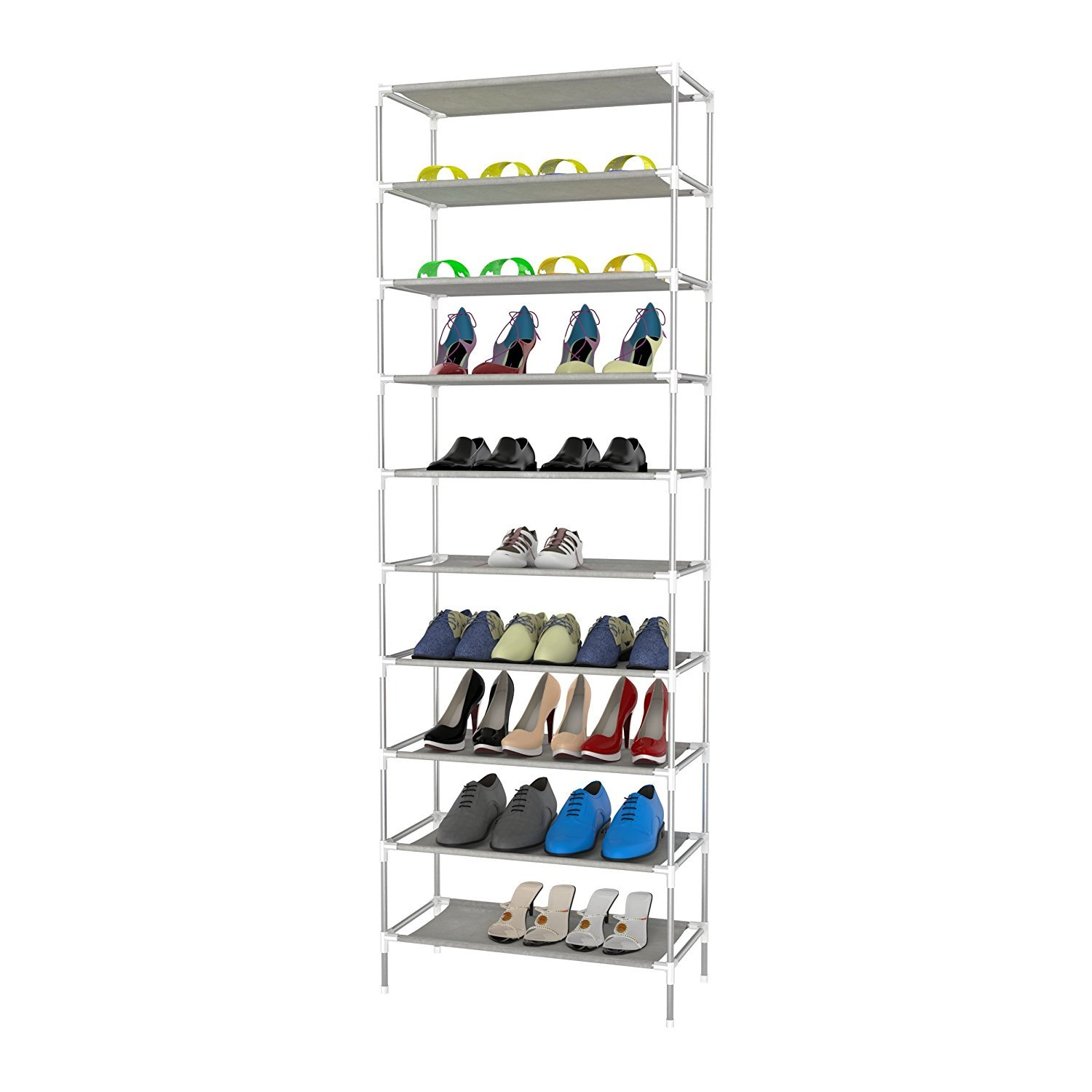 Vividy 50 Pairs Shoe Rack Storage Organzier, 10-Tier Stackable Portable Closet Bench Tower