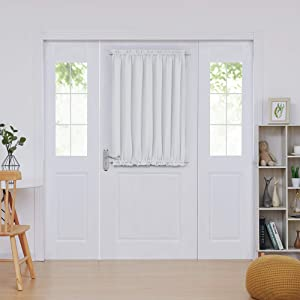 Deconovo Room Darkening & Thermal Insulated Rod Pocket Door Curtain Panels with Tie Back (Light Greyish White, 54x40 in, 1 Panel