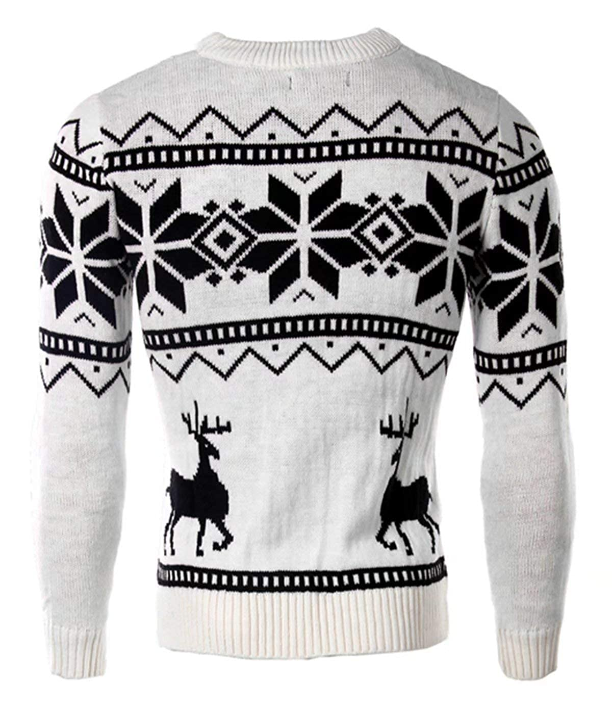 EMAOR Mens Fashion Reindeer and Snowflake Crew Neck Knit Sweater