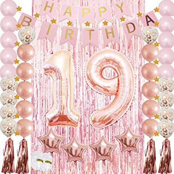 19th Birthday Decorations Party Supplies Rose Gold Set For Girlswomen Confetti Latex Balloonfoil Mylar Startassel Garlandtinsel Foil Fringe