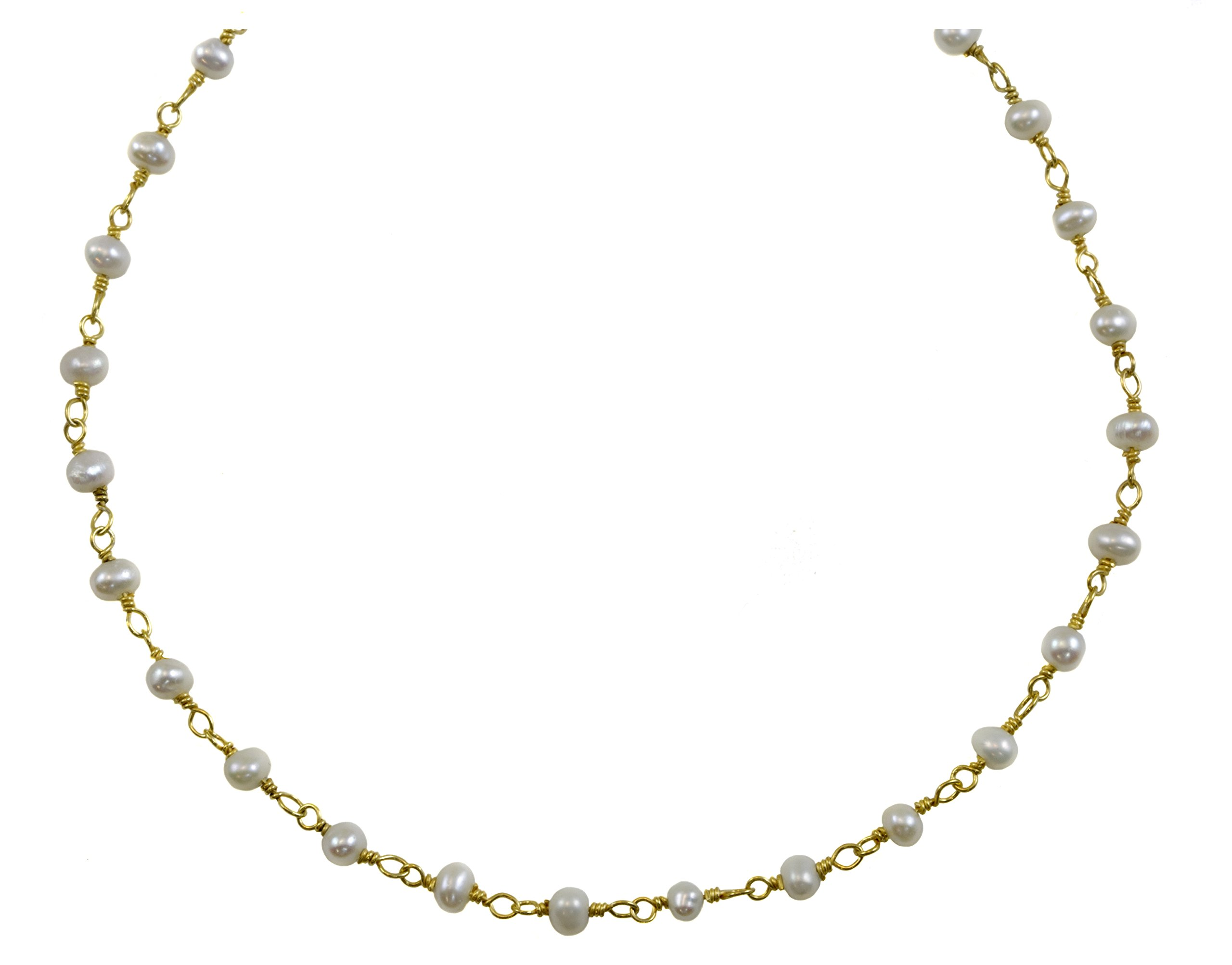 14k Gold Filled Small Freshwater Cultured Pearl Necklace White Pearls Goldtone Chain (3.0-3.5mm), 18''