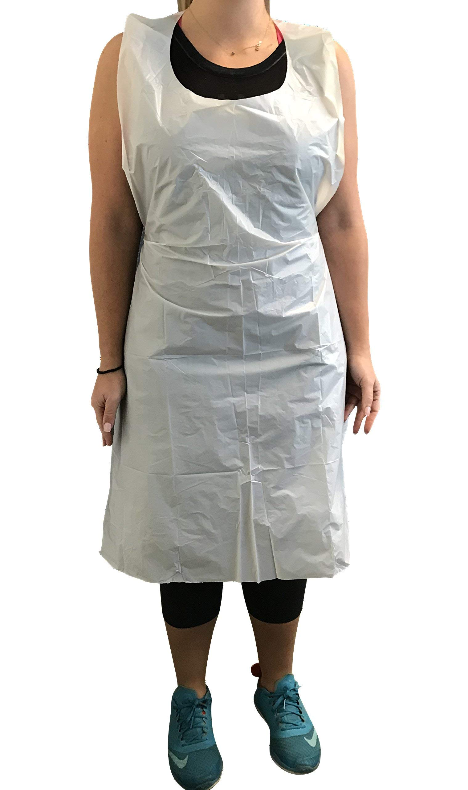 KingSeal Disposable Poly Aprons, 28 x 46 inches, 0.8 mils Thick, Individually Packed, White, Bib Style - 1 Box of 100 Aprons (100 Aprons Total)
