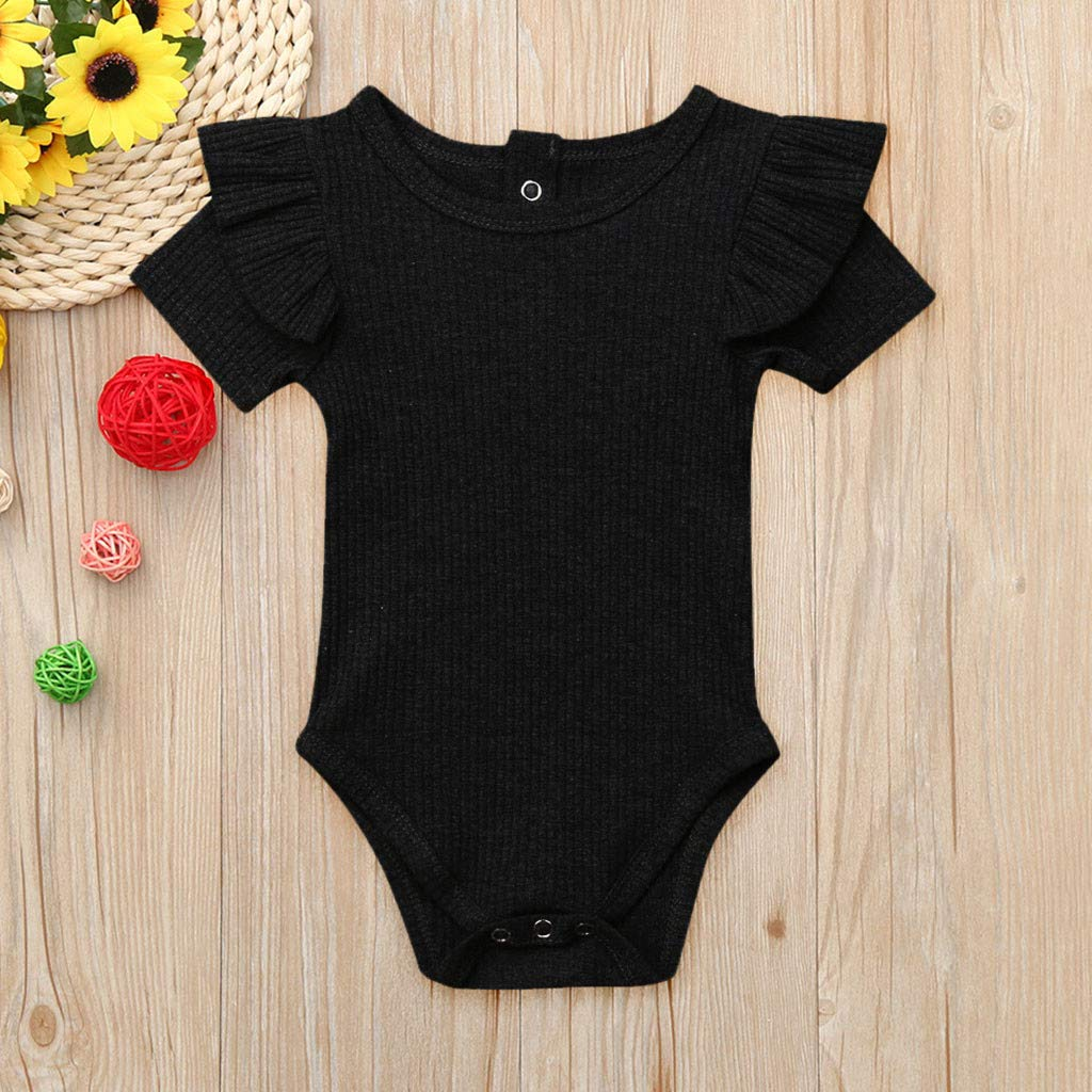 Body Manga Corto Recien Nacido bodis para beb/é ni/ños ni/ñas Pijama Algodon Tops Camisa Bodys Volantes Bebe ni/ña