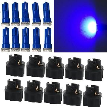 WLJH 10pcs Twist vaso azul T5 instrumento medidor Panel Cluster bombillas LED Salpicadero Lámpara De Luz Bombillas: Amazon.es: Coche y moto