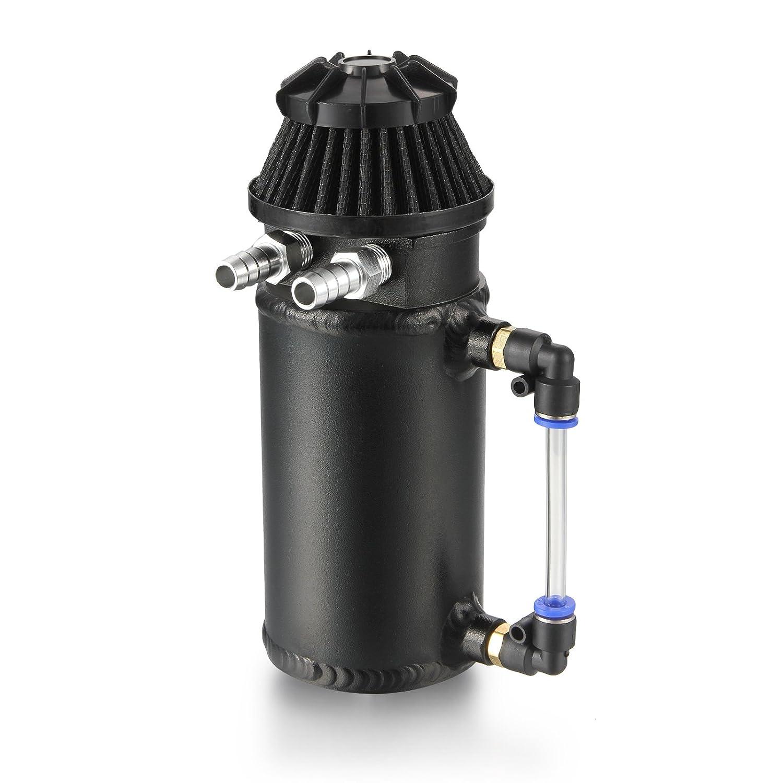 Dromedary Black Aluminum Oil Reservoir Catch Can Tank Breather Filter Baffled Kit Dromedary Autoparts