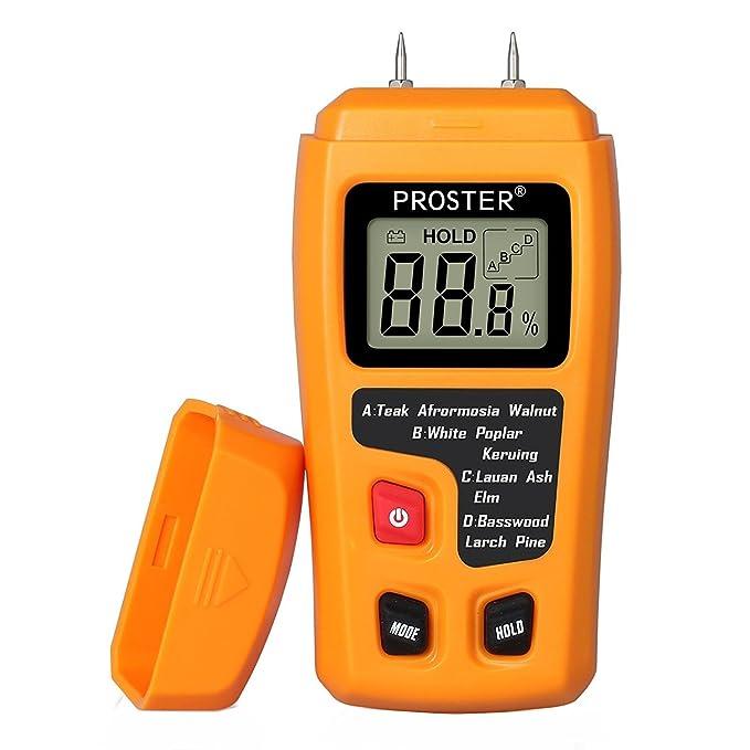 Medidor de Humedad, Proster Humidímetros LCD Medidor de Humedad de Madera Digital Detector 2 Pin Apagado Automático para Materiales de Madera: Amazon.es: ...