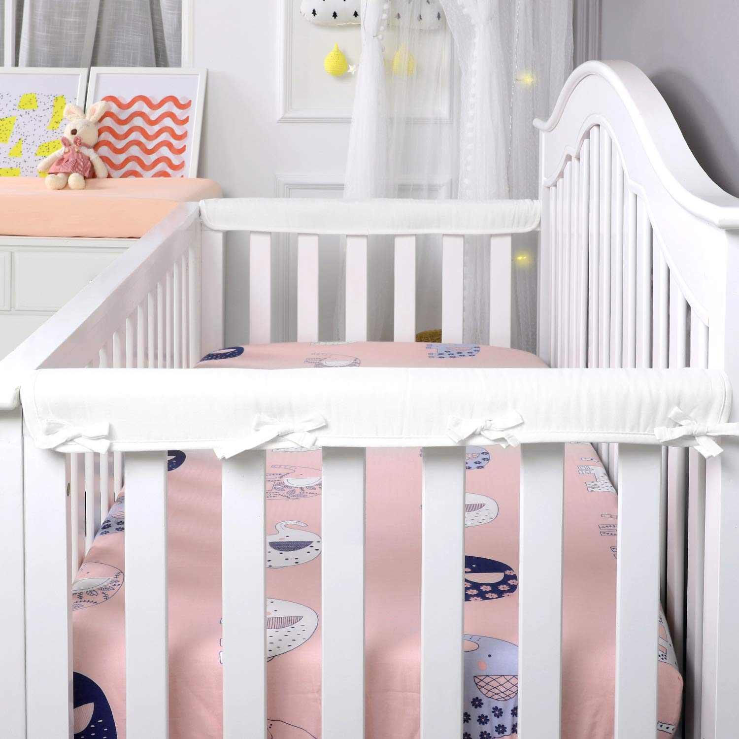 U.S. Peachy Pink Designthology 100/% Cotton Muslin 2-Pack Super Breathable Narrow Crib Rail Cover for 2 Side Rails for Rails Measuring up to 8 Around