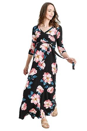 ad93e4457ec Hello MIZ Women s Floral Print Draped 3 4 Sleeve Long Maxi Maternity Wrap  Dress (