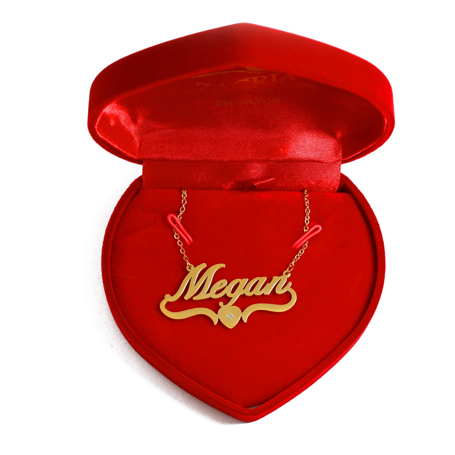 Kigu Megan Heart Shaped 18ct Gold Plated Personalized Custom Name Necklace