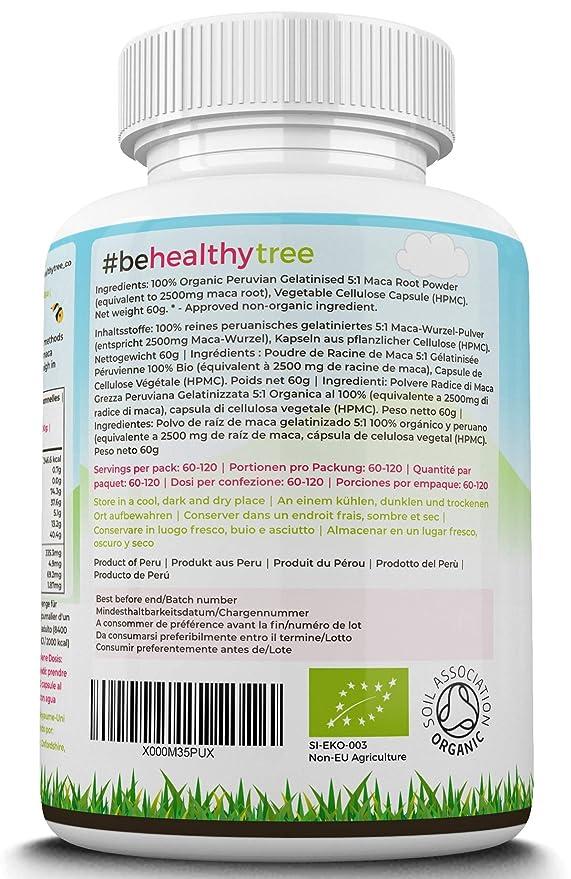TheHealthyTree Company Cápsulas de Maca Orgánica - 2500mg por Cápsula: Amazon.es: Salud y cuidado personal