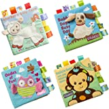 SPIEL Activity Fabric Soft Baby Cloth Book Crinkle Squeak Sound Sensory Interactive Educational Toys for Infants Toddlers Kids - 4 Packs Set