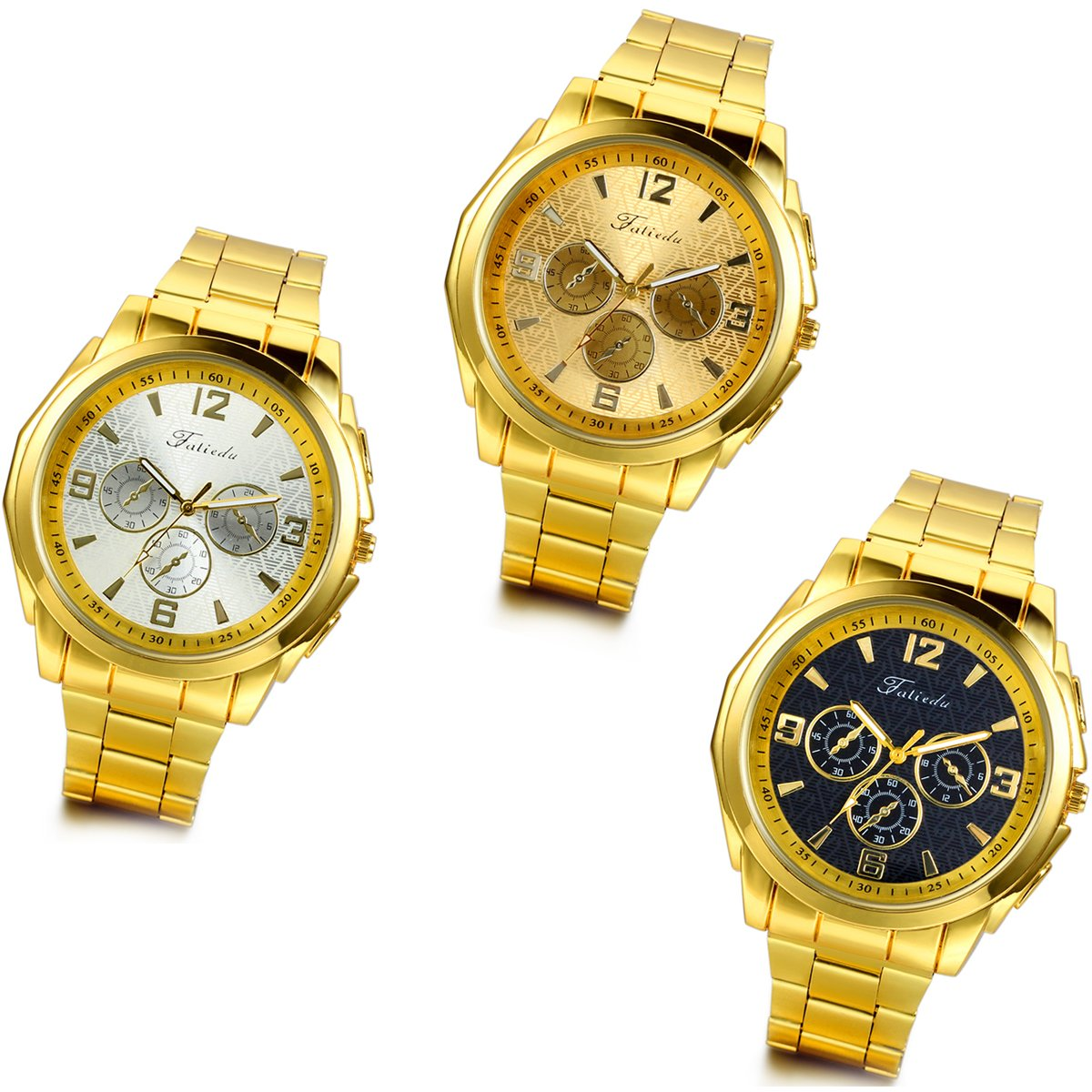 Lancardo Luxury Mens Gold Tone Bracelet Watches with Gift Bag (3PCS)