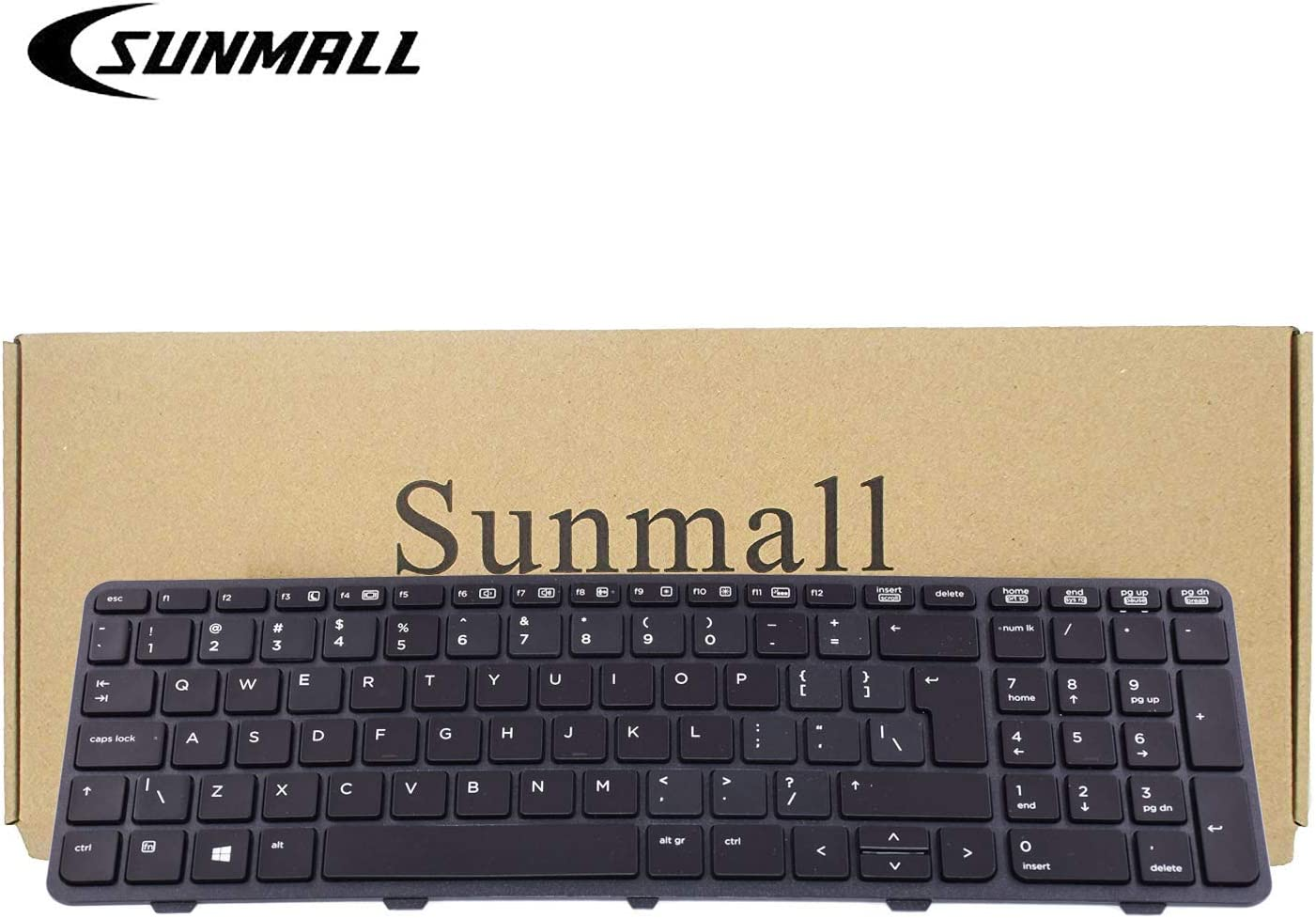 SUNMALL New Laptop Keyboard Replacement with Backlit and Big Enter Key Compatible with HP Probook 450 G0 450 G1 Series Black US Layout