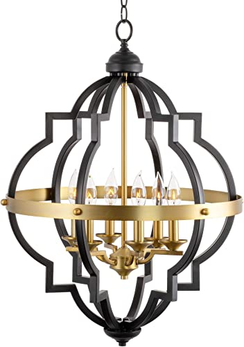 Kira Home Capistrano 28 6-Light Rustic Farmhouse Chandelier, Warm Brass Black Finish