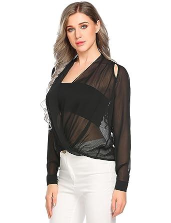 f3f6292adee Pinspark Womens Sexy Chiffon V Neck Ruffle Loose Fit Blouse Top Sheer Shirts  Black