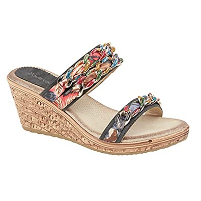 4a0adc322 Boulevard Womens Ladies Jewelled Fabric Twin Strap Wedge Mule Sandals (3 UK)  (
