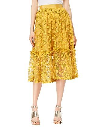 249611e96 Amazon.com: French Connection Women's Lace Midi Skirt (Mustard, 8 ...