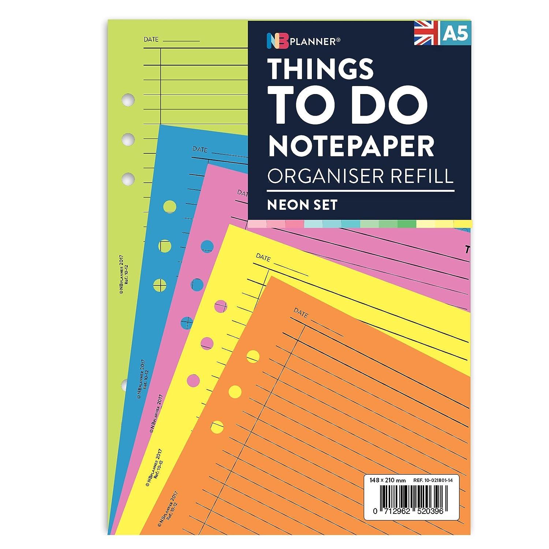 Ricarica di fogli per agenda appunti To Do, NBplanner, in formato A5, compatibile con Filofax, colorati Neon set Domina Group Ltd